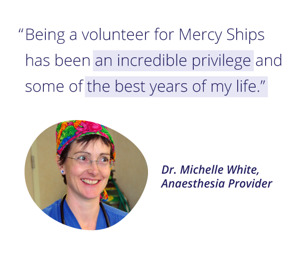 Mercy Ships volunteer Dr. Michelle White