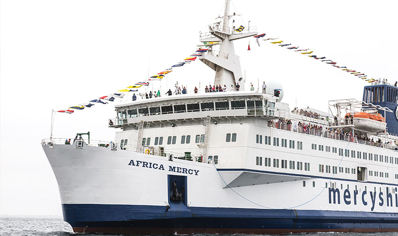 The Africa Mercy arriving into Dakar
