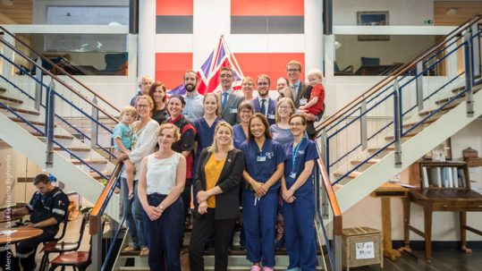 UK crew with Baroness Sugg