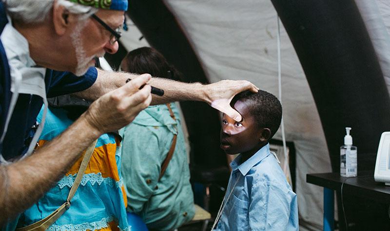 Patient having eye exam